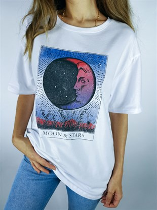Moon and Stars Beyaz Tshirt